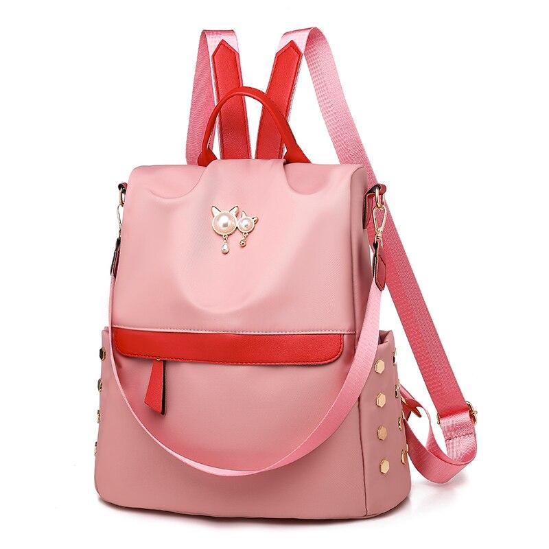 f2ac9013a Moda Mochilas Pérola pink Das Rebite Bolsa Mulheres De Escola D' Sacos  Viagem Feminina Água Saco Senhoras Prova Black Capacidade Ombro ...