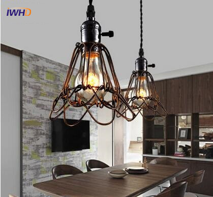 Antique Single head Industrial Pendant Lights Retro Loft Edison Blub Light Fixtures Creative Iron Vintage Hanging Light Cage Lig american style loft edison industrial vintage pendant light single head retro pendant lamp simple antique iron hanging light