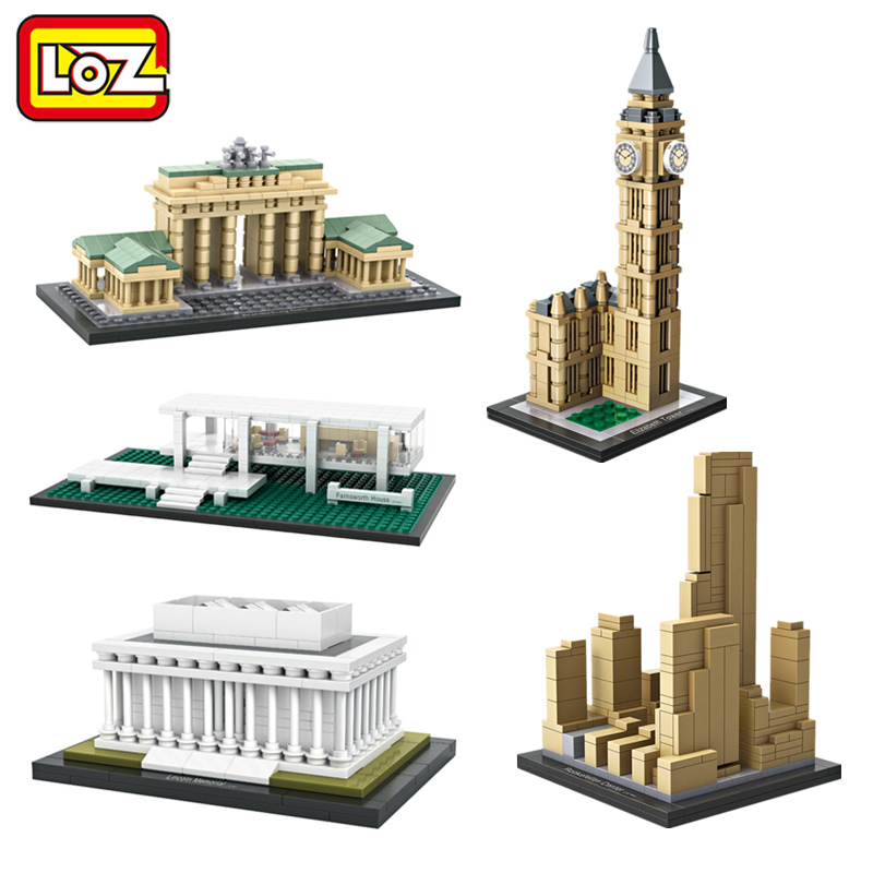 LOZ World Famous Architecture Mini Blocks Model Toy Elizabeth Tower Farnsworth House Brandenburg Gate Model No Box Ages 14+ loz lincoln memorial mini block world famous architecture series building blocks classic toys model gift museum model mr froger