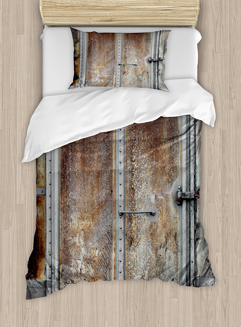 Duvet Cover Set, Vintage Railway Container Door Old Locomotive Transportation Iron Power Design, 4 Piece Bedding Set