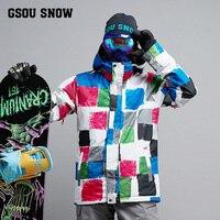 2017 gsousnow зима впечатление 2017 Новый мужской лыжный костюм супер теплая одежда лыжный сноуборд куртка костюм ветрозащитная водонепроницаемая