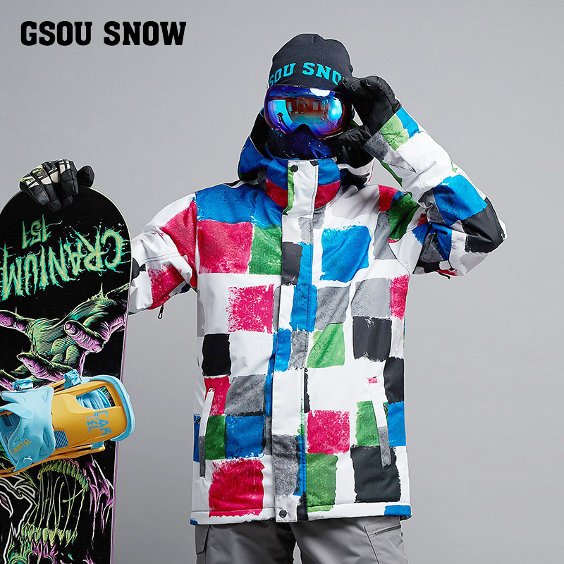 2017 gsousnow Winter Impression 2017 NEW Men Ski Suit Super Warm Clothing Skiing Snowboard Jacket Suit Windproof Waterproo