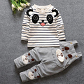 НОВАЯ коллекция весна стиль с длинным рукавом в Полоску медведи хлопок ремни майка + брючные костюмы мальчик детские весна одежда бесплатная доставка