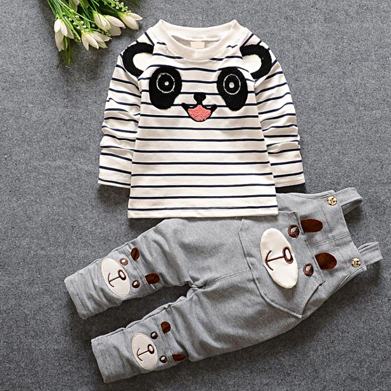 NEW spring style long sleeve Striped bears cotton straps t shirt+ pantsuits boy baby spring clothing free shipping marine style striped baby boy tee shirt t shirt