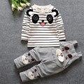 NOVA primavera estilo ursos de tiras de algodão de manga longa Listrada t shirt + terninhos menino bebê primavera roupas frete grátis