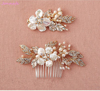 Jonnafe Shell Floral Hair Clip Bridal Comb Set Gold Headpiece Pearls Wedding Hair Jewelry Accessories Handmade