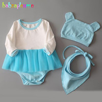 Babzapleume 3PCS Spring Summer New Born Baby Girls Clothes 100 Cotton Cute Romper Bodysuit Hats Bibs