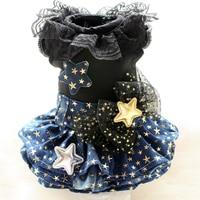 Free shipping dog clothes gold star lace denim skirt dog dress 100%cotton Vestido ropa perro mascotas roupa cachorro