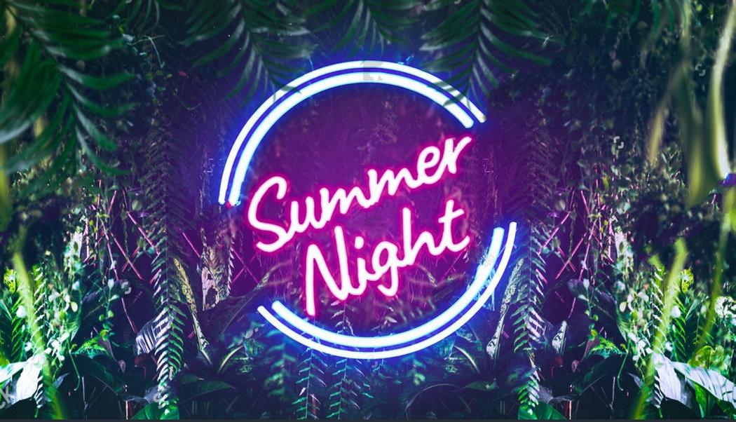 Tropical Night Neon Light Jungle Leaves Palm Leaf Beach