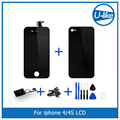 Black LCD Display + Touch Screen Digitizer + Glass Back Housing Cover + Home Button Replacement part For iPhone 4G &Screw Tools