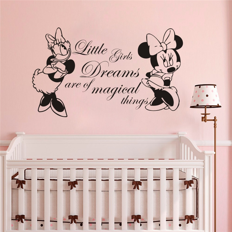 Minnie Mouse And Donald Duck Wall Sticker For Baby Kids Bedroom Nursery Home Decoration Vinyl Art Removable Poster Mural W202 in Wall Stickers from Home Garden