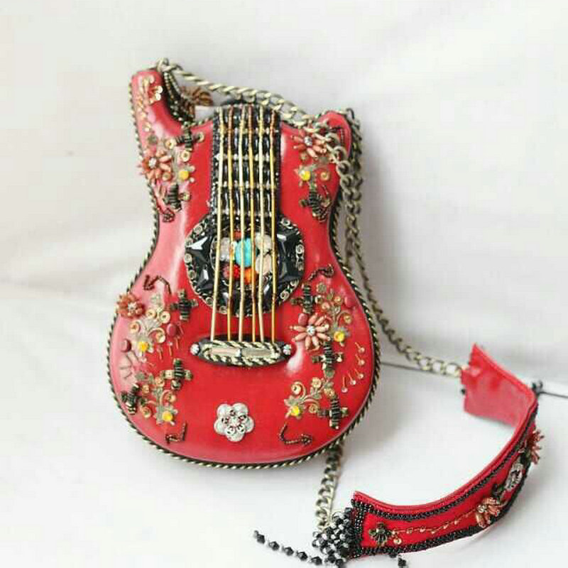 Musician s exclusive handmade guitar shaped chain cross body bag women s national style exquisite beading