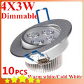 10pcs/lot Dimmable 12W Ceiling Downlight LED Ceiling Lamp 4x3W Recessed Light 110V 220V for Home illumination FREE SHIPPING