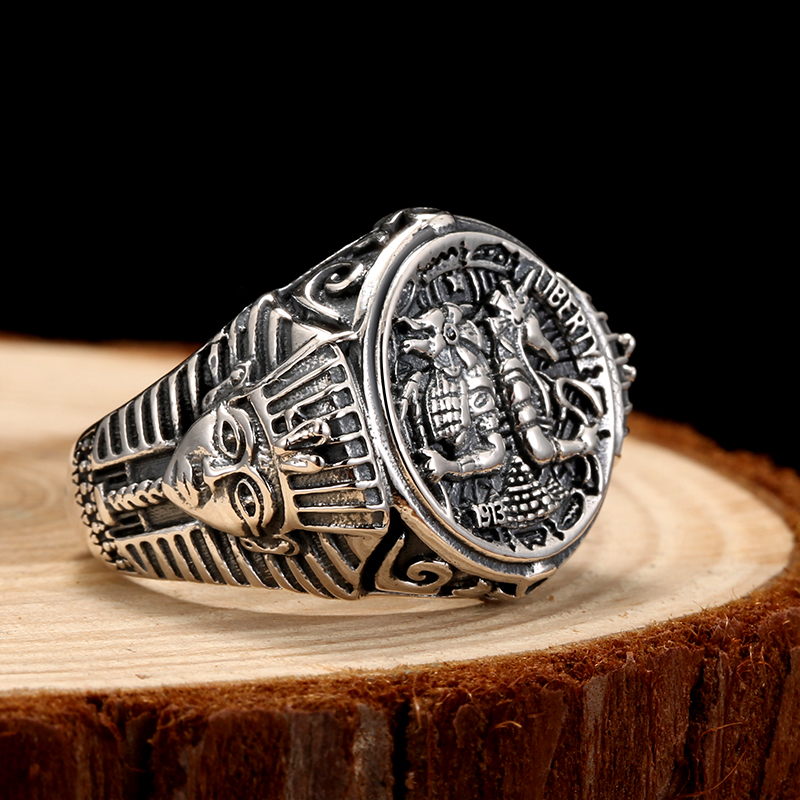 925 Silver Ring male single domineering personality retro men's silver adjustable ring