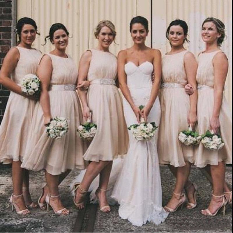 Simple New A-line Sleeveless O-Neck Knee-Length  Simple Chiffon Bridesmaid Dresses For  Weeding  Party
