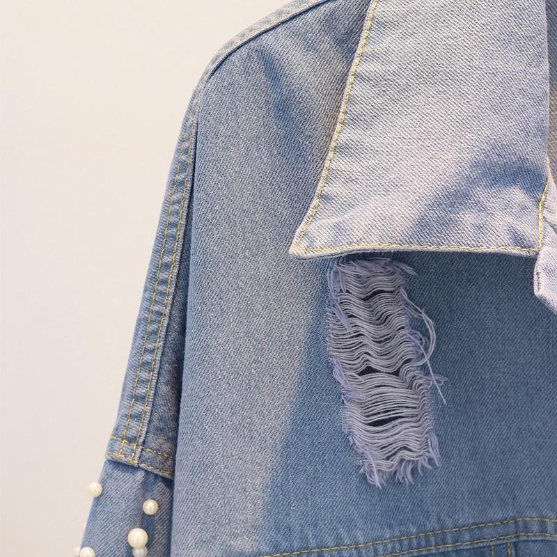 Bleu Casual Bomber À Denim Pour Perles Jeans Veste Les Printemps Perle La Automne 2018 Femmes Trou Main awY0q0
