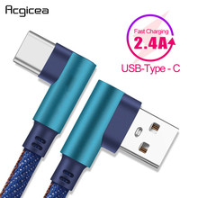 2.4A Type C Cable for Samsung S8 S9 S10 Plus Huawei 90 Degree Denim USB C Mobile Phone Cables Fast Charging Charger Adapter Cord