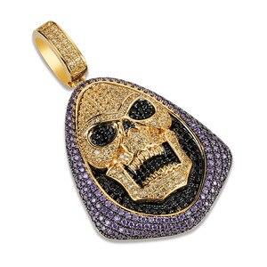 Image 2 - חדש אופנה אייס מתוך Skeletor תליון שרשרת עם טניס שרשרת נחושת היפ הופ זהב כסף צבע Mens/נשים קסם תכשיטי שרשרת
