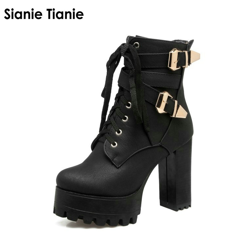 Sianie Tianie lady platform thick block high heels woman shoes lace up buckle strap women ankle