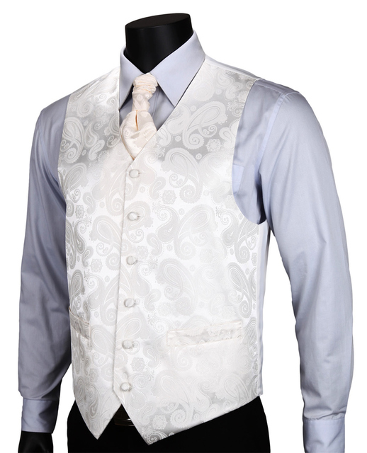 VE02 White Beige Paisley Top Design Wedding Men 100%Silk Waistcoat Vest Pocket Square Cufflinks Cravat Set for Suit Tuxedo