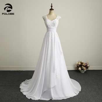 Simple V-neck Beads Lace Vestidos De Novia Backless Pleats Chiffon A-Line Beach Long Wedding Dresses Robe Marriage Bridal Gowns - DISCOUNT ITEM  23 OFF Weddings & Events