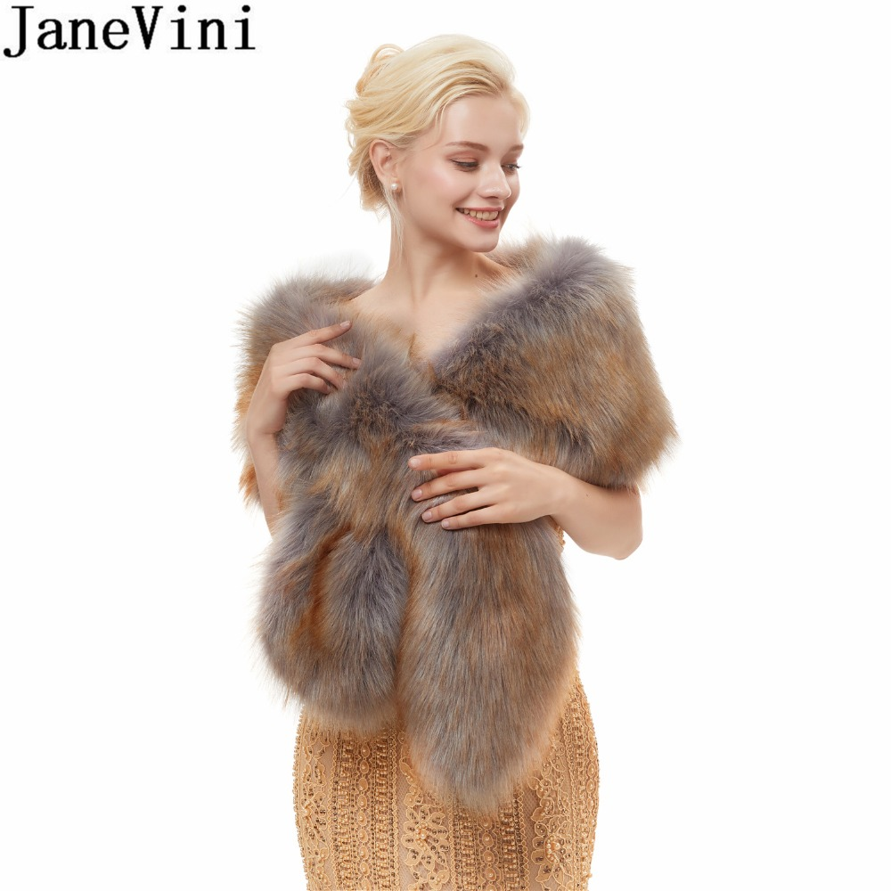 JaneVini Winter Wedding Bride Fur Capes Ladies Bridal Faux Fur Shoulder Wraps Bolero Shrug Warm Jacket Shawls for Wedding Dress