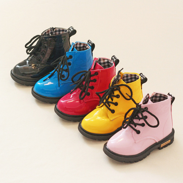 Hot sale children martin boots Bright japanned motorcycle child kids Snow boots sneaker waterproof casual shoe 13-22cm winter