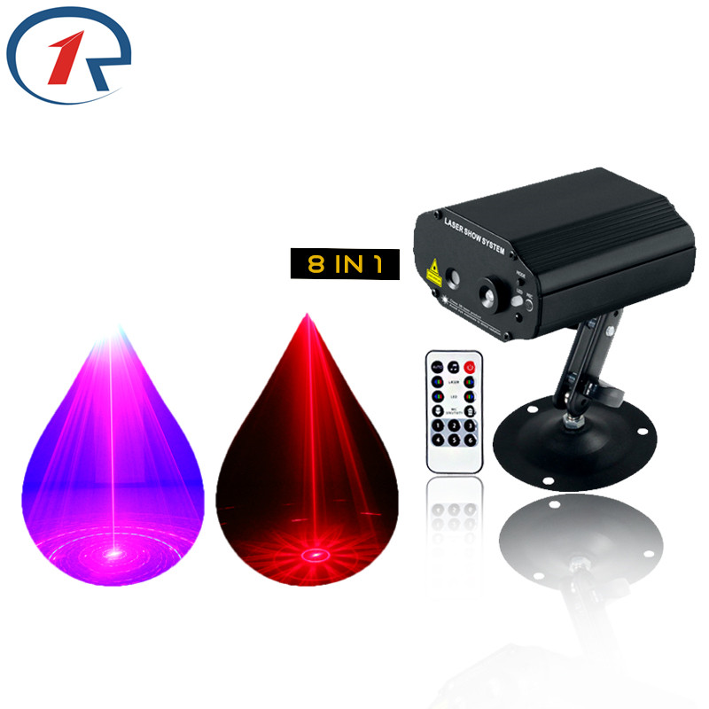 ZjRight IR Remote Red Green Laser Lights Blue LED Stage lamp 8 Patterns projection disco bar ktv dj Xmas new year Decor lighting niugul dmx stage light mini 10w led spot moving head light led patterns lamp dj disco lighting 10w led gobo lights chandelier