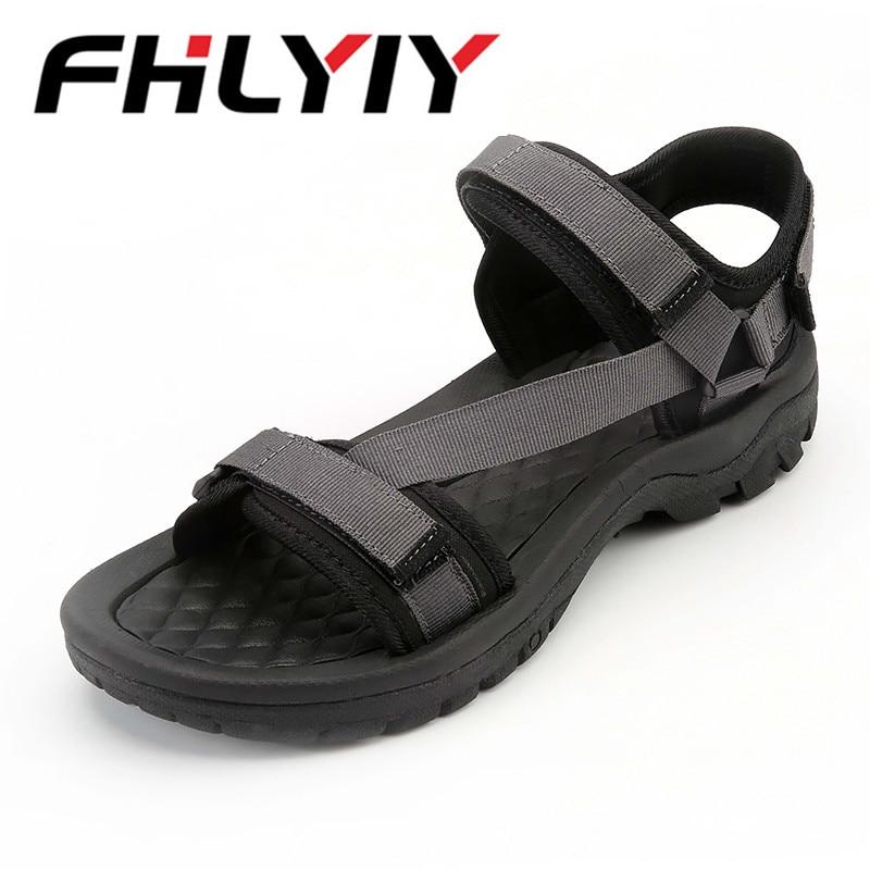 Men Sandals Solid Hook & Loop Handmade Sandals Brand Shoes Zapatos Hombre Outdoor Flats Flip Flop Man Sandals Chinelo Masculino
