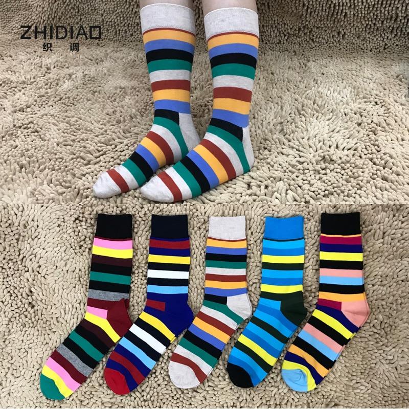 Funny mens socks man winter colorful striped geometric hip hop ladies socks cotton crew high quality thermal happy men socks