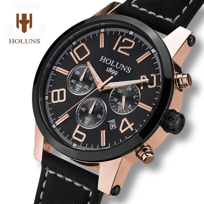 Luxury HOLUNS watch men sapphire materiaeel waterproof  date leather strap Chronograph Quartz watch relogio masculine seiko watch premier series sapphire chronograph quartz men s watch snde23p1
