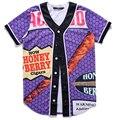 2016 мода лето стиль хип-хоп мужские рубашки 3D печати Глуши Мед Берри Притупляет мужская бейсбол рубашки бесплатная доставка