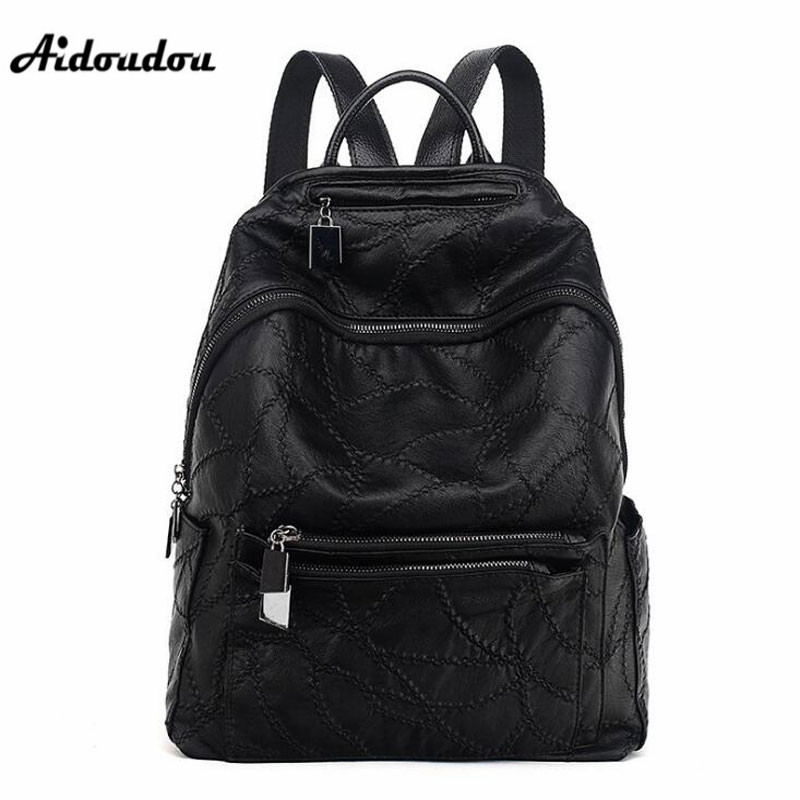 AIDOUDOU Luxury Brand Design Women Backpack Fashion Patchwork Travel Backpacks Large Girls School Bags Mochila Black Color