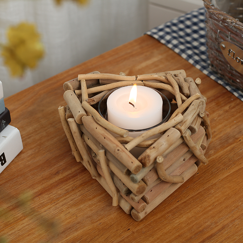 Modern Handmade Wooden Candle Holders With Candle Wood