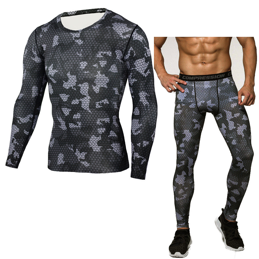 New Men Camouflage Compression Sport Long Sleeve T Shirt + Pant Fitness Sets Quick Dry Crossfit Trainning Exercise MMA Suits