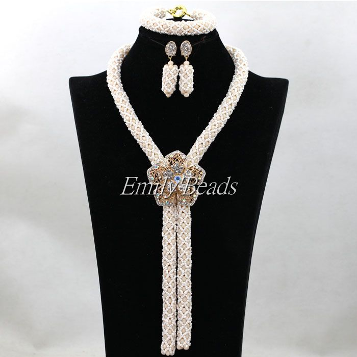2016 Pretty Cream White/Beige Crystal Beads Party Jewelry Sets Charms Nigerian Wedding African Beads Jewelry Set New ALJ1912016 Pretty Cream White/Beige Crystal Beads Party Jewelry Sets Charms Nigerian Wedding African Beads Jewelry Set New ALJ191