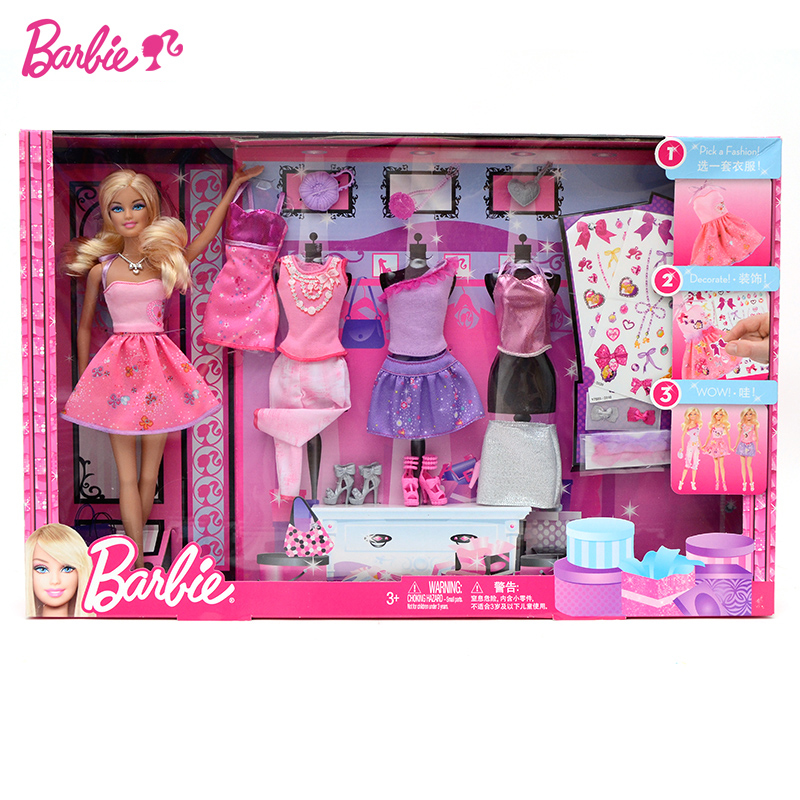 все цены на Barbie Original Fashion Combo Doll American Girl Toys Princess Designer Creative Desi Barbie Clothes Dress For Baby Girls Y7503