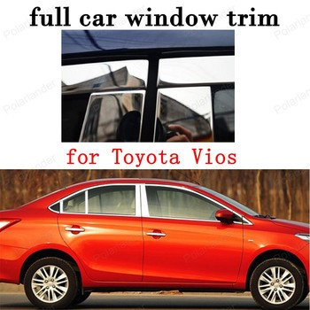 full Window Trim Decoration Strips Car Exterior Accessories for Toyota Vios Stainless Steel with column