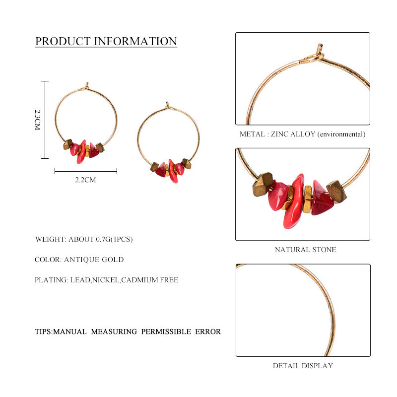 HTB1OyP5SXXXXXbgXFXXq6xXFXXXF - Women Trendy Red Natural Stone Pendant Round Hoop Earrings Vintage Antique Gold Circle Hoop Earrings Jewelry