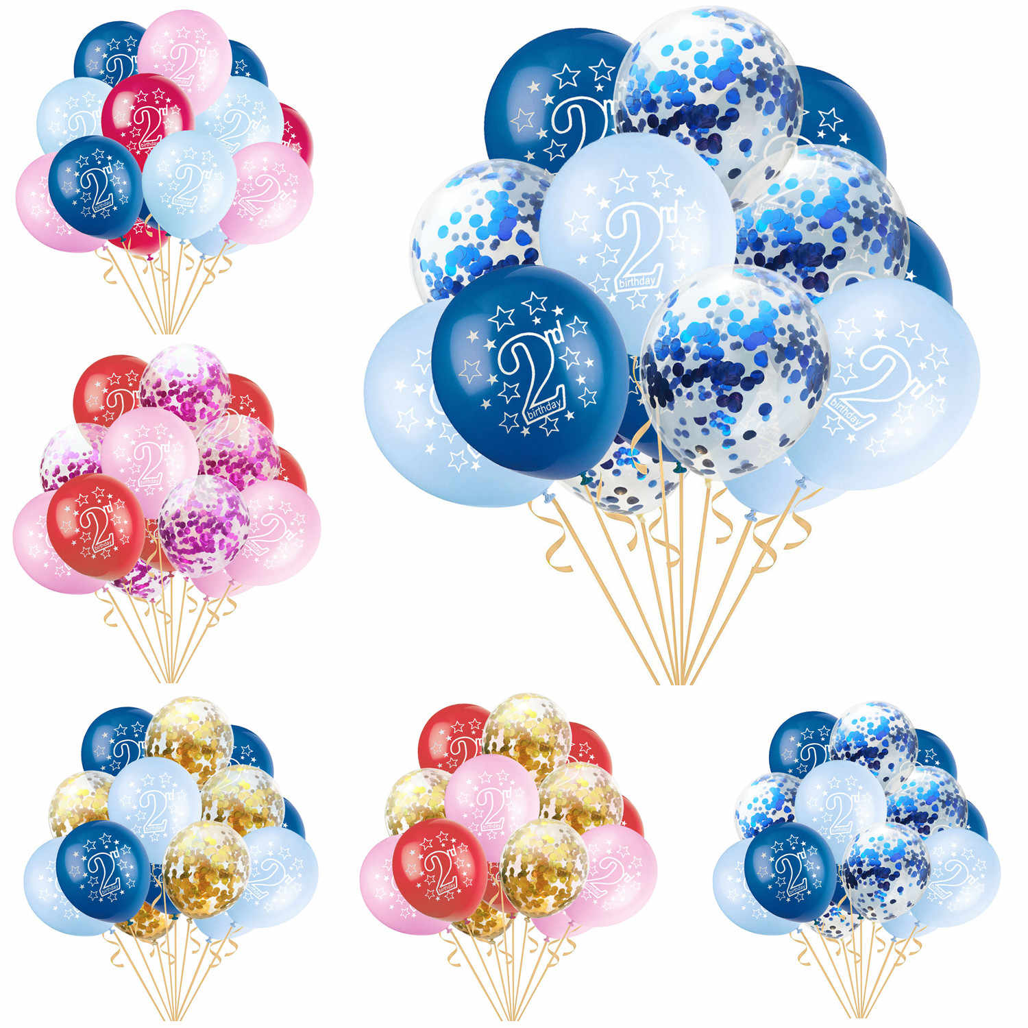 15pcs/set 2nd Stars Pearl Latex Balloons Confetti Air Balloons Baby Boy Girl 2 Years Old Birthday Party Anniversary Decorations