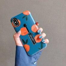Retro Turuncu Boyama telefon kılıfı Için iphone X XR XS Max iphone için kılıf 6 6 S 7 8 Artı arka kapak Kickstand Moda yumuşak D...