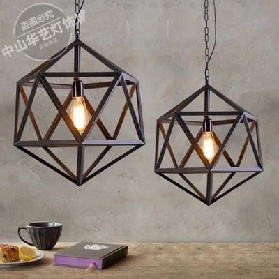 LOFT industrial retro antique black wrought iron hexahedron pendant light   living room bar dinging room kitchen hanging lamp new vintage loft pendant lights wrought iron retro edison hanging lamp industrial bar living kitchen room pendant lamps zdd0018