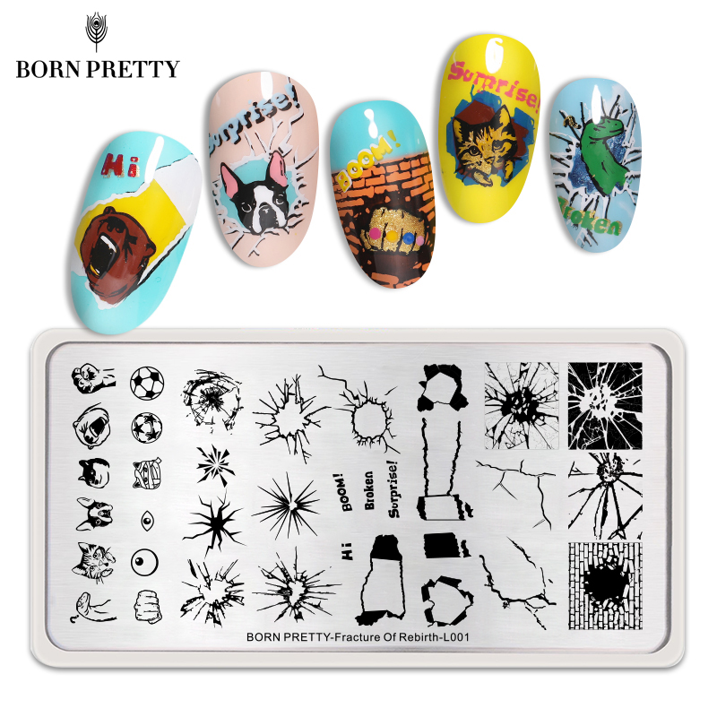 <font><b>BORN</b></font> <font><b>PRETTY</b></font> Stamping Plates Decompress Theme Stainless Steel Nail Stamp Image Plate Nail Art Tool Fracture Of Rebirth <font><b>L001</b></font> image