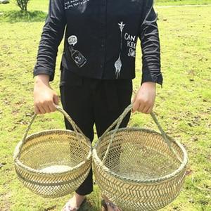 Image 3 - Round large bamboo wicker basket straw rattan handmade organizer baskets for storage bread fruit Laundry Panier Osier Picnic