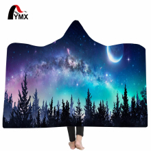 FYMX Starry Sky Art Hooded Blanket For Adults Sherpa Fleece Psychedelic 3D Printed Microfiber Wearable On Bed Sofa