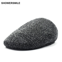 SHOWERSMILE Brand Wool Knit Beret Flat Caps With Ear Muffs Vintage British Winter Duckbill Cap For
