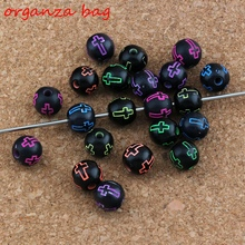 MIC 500Pcs / Lots Hollow Cross Carved Acrylic Round Spacer Beads mixed Religious Bead Loose beads 8mm Jewelry DIY E-3