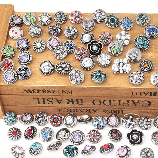 newest 10pcs/lot Mix Rhinestone Snap Buttons Metal Decorative Buttons fit 12mm D