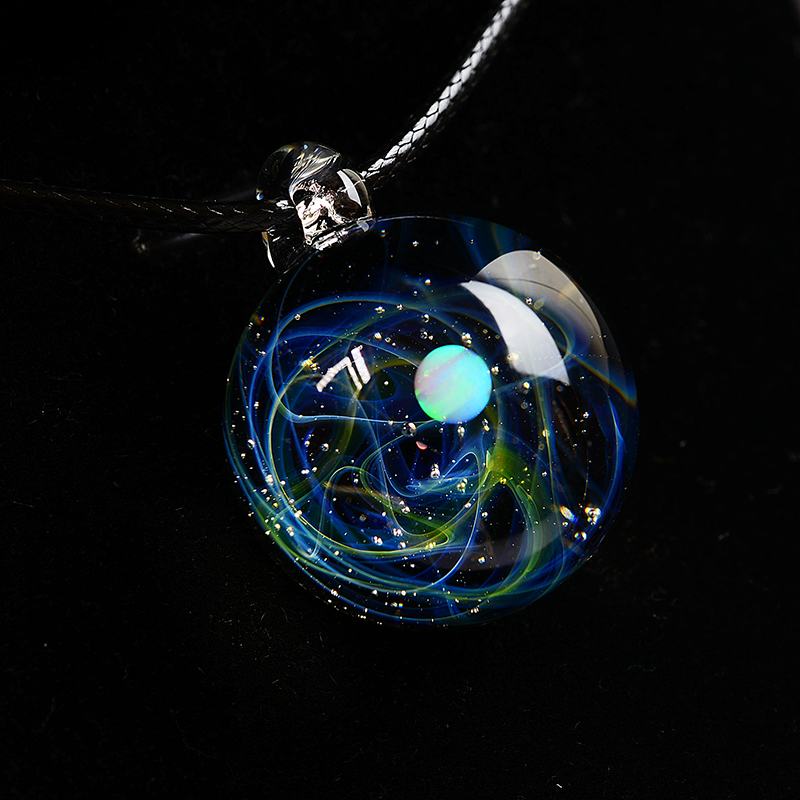 BOEYCJR Unique Opal Stone Universe Glass Planets Pendant Necklace Galaxy Rope Chain Solar System Necklace for