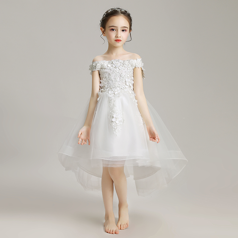Lovely Bandage Pageant   Dresses   Wedding Lace   Flower     Girls     Dress   Beads Boat Neck First Communion Prom Gowns White Ball Gown